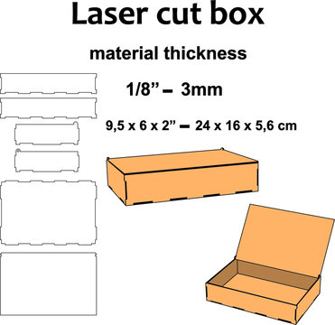 Laser cut wood Laser cut pattern Laser cut design plans template for make a medium size box 3mm mdf wood plywood acrylic office home decor diy craft
