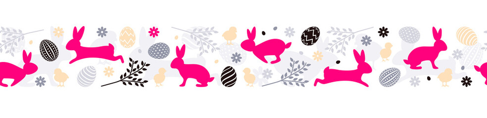 Easter bunny with easter eggs seamless pattern vector banner background isolated