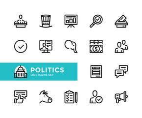 Politics vector line icons. Simple set of outline symbols, graphic design elements. Pixel Perfect