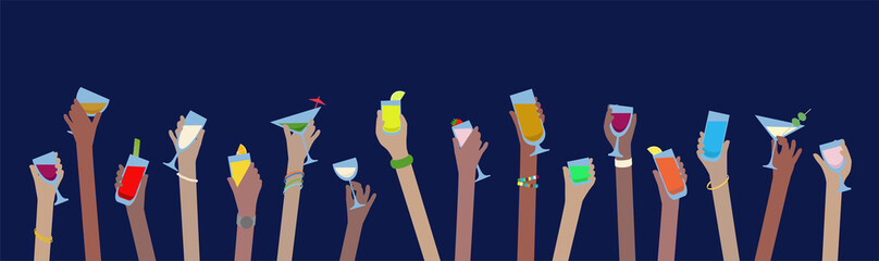 Hands with drinks banner of alcohol in glasses celebrate at Party