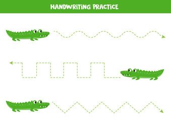 Tracing lines with green crocodiles. African animals.