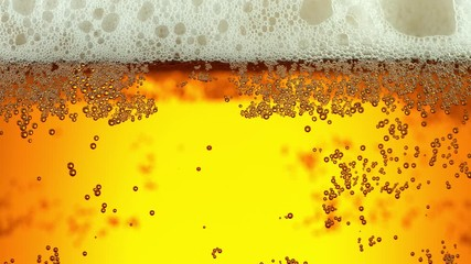 Wall Mural - Super slow motion of macro shot of beer drink, close-up. Filmed on high speed cinema camera, 500 fps.