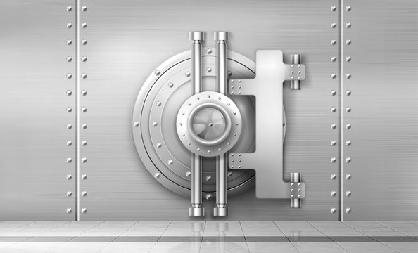 Bank safe and vault door, metal steel round gate mechanism in empty bunker room with tiled floor and durable walls with welds and rivets. Storage for gold and money, Realistic 3d vector illustration