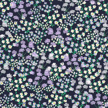 Seamless pattern with small, tiny wildflowers on an dark blue background.