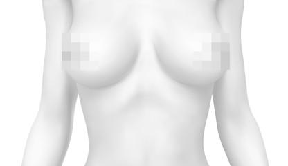 vector female body colorless tones. photo realistic mesh