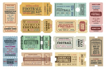 American football game tickets vector set with sport ball. Championship cup match admit one coupons, competition event of stadium or sporting arena retro invitations or access cards
