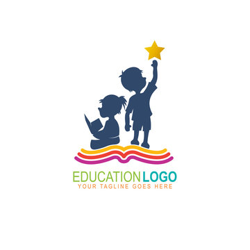 Education logo, Kids logos are reading books and learning