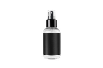 Transparent spray bottle for cosmetics product with black blank label isolated on white background, mock up for branding, advertising,  design.