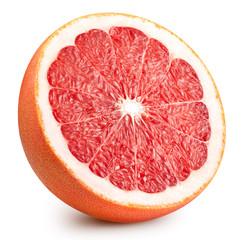 Poster Vruchten Grapefruit isolated on white background. Grapefruit citrus fruit clipping path. Grapefruit half macro studio photo