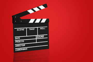Blank Film clapper board or movie clapper cinema board , Slate film on red background .cinema concept clipping path included.