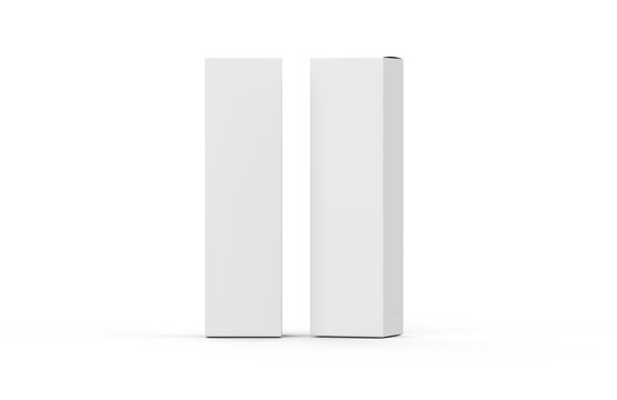 Tall white paper box mock up template on isolated white background, 3d illustration