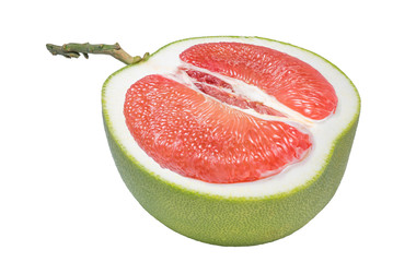 Printed roller blinds Splashing water Red Pomelo citrus fruit on white background,Whole pomelo with slice isolated on white background.(With clipping path)