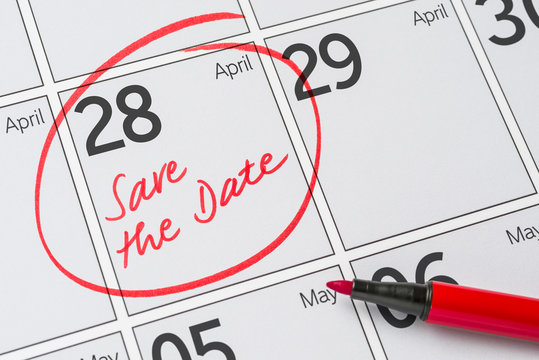 Save the Date written on a calendar - April 28