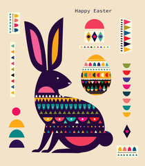 Fototapete - Colorful illustration with hare, easter egg and decorative elements. Happy easter greeting card with decorative easter bunny