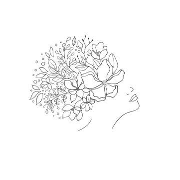Hand drawn floral women head. Fashion design.
