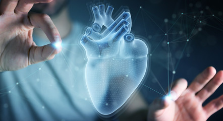 Man using digital x-ray of human heart holographic scan projection 3D rendering