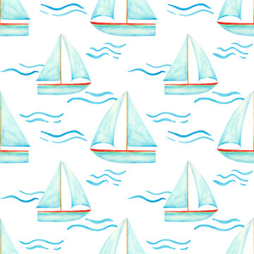 Hand drawn blue watercolor sailboat on the waves seamless pattern on white background for your design. Sailing ship endless print. Nautical wallpaper.