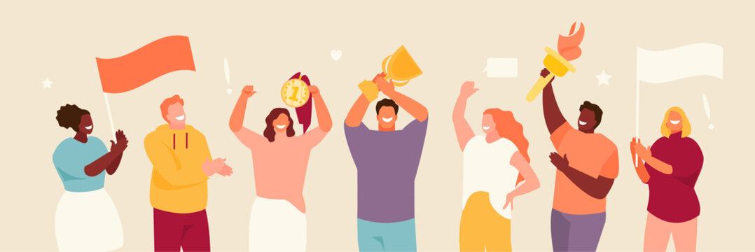 People group with symbols of the Olympics in their hands. Sports fans and winners vector illustration