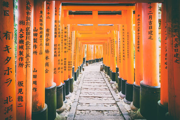 Torii gates in Fushimi Inari, Kyoto, Japan