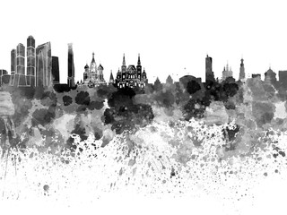 Wall Mural - Moscow skyline in black watercolor