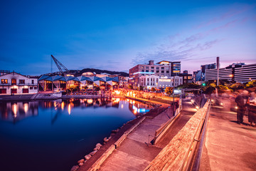 Fototapete - Nightscape of Wellington City, New Zealand