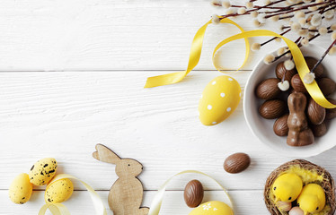 easter eggs on wooden background, copy space for text