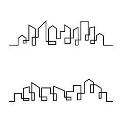 Fotomurales - Set of City Skyline line art vector illustration