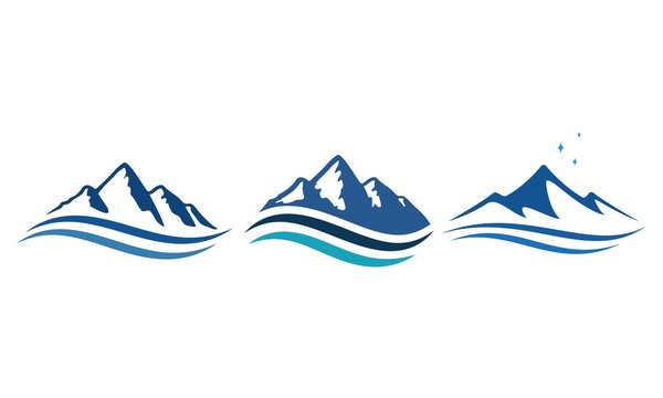 mountain and ocean logo, icon and illustration