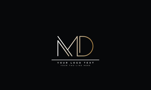 MD ,DM ,M ,D Letter Logo Design with Creative Modern Trendy Typography