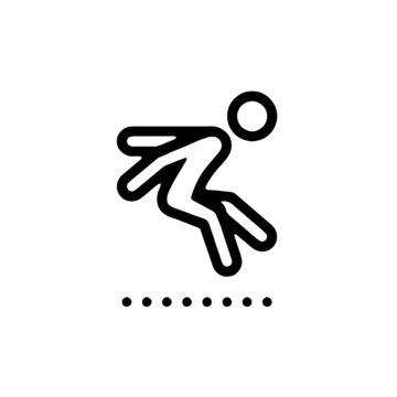 long jump icon outline style vector