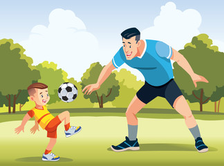 Young father with his little son playing football on football pitch at the day time. Concept of friendly family. Happy father's day. Vector illustration.