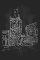 Wall Mural - vector sketch of The Powder Tower, Prague, Czech Republic.