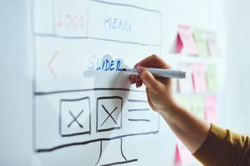 Female web developer with blue marker planning website on whiteboard Fototapete