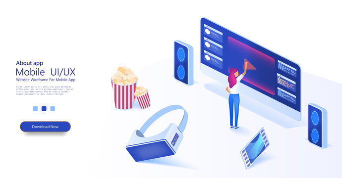 The girl chooses a movie. Watching film on big screen with sound system. Popcorn, virtual reality glasses and film in a trendy style. Outdoor movie theater, backyard theater gear concept. Vector