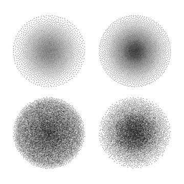 Vector set of stipple circle textures. Dotted gradient halftone ink spray effect