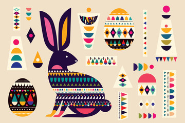 Fototapete - Colorful collection with easter rabbit and easter eggs. Happy easter greeting card with decorative easter bunny