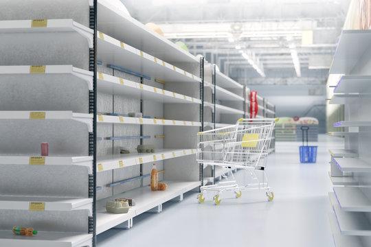 Empty shelves in supermarket store due to coronavirus