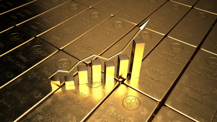 Fototapete - The price of gold on the stock exchange is rising. 3d illustration.