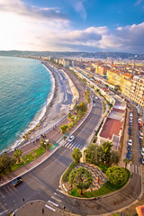 Poster de jardin Europe Méditérranéenne City of Nice Promenade des Anglais waterfront and beach view, French riviera