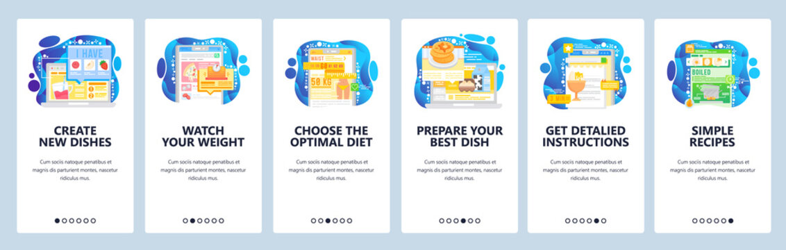 Healthy lifestyle and weight loss diet. Cook healthy food by online recipe. Mobile app onboarding screens. Menu vector banner template for website and mobile development. Web site design illustration