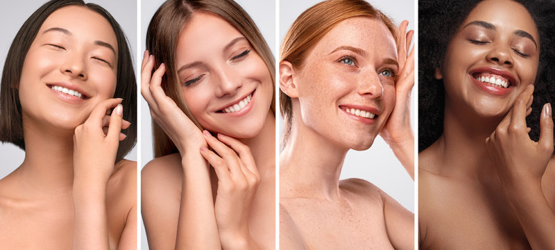 Happy diverse women enjoying smooth skin