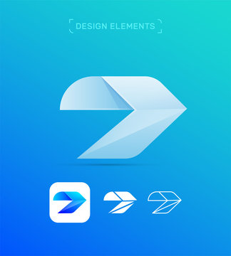 Vector abstract airplane wing logo design template. Origami paper, dynamic style. App icon