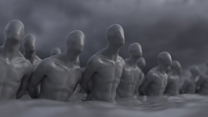 blinded slaves in the water
