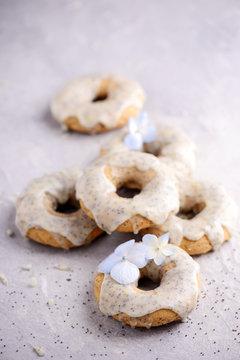 Vegan lemon poppy seed donuts.selective focus.