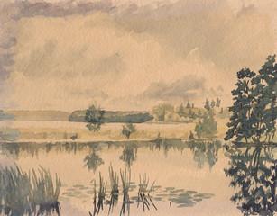 Teich, Aquarell