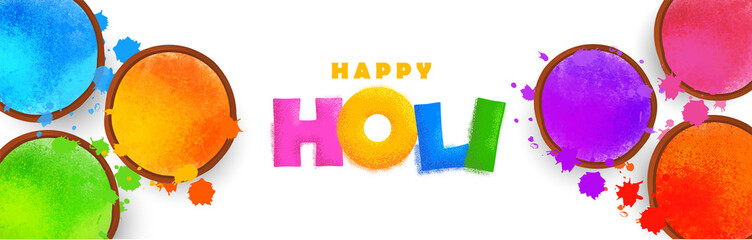Happy holi celebration background. Colorful holi powder (gulal) and holi creative text on white background. Vector illustration.