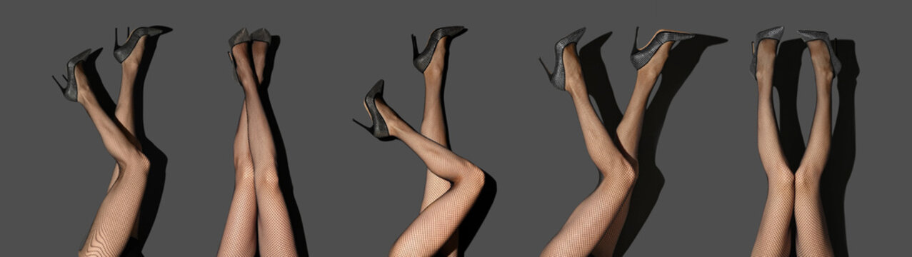 Collage of women wearing tights on grey background, closeup of legs. Banner design