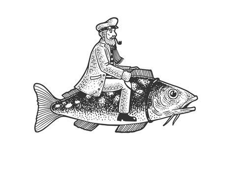 Fisherman captain riding fish sketch engraving vector illustration. T-shirt apparel print design. Scratch board imitation. Black and white hand drawn image.