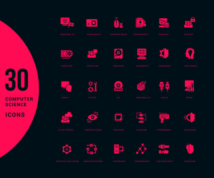 Set of Simple Icons of Computer Science