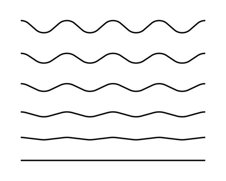 Zigzag seamless wave lines set. Wavy wiggly black horizontal line with edge. Frame underlines stroke. Vector illustration isolated on white